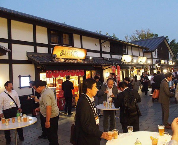 Enjoying a spread of Kumamoto specialty products in the streets below Kumamotojo Castle